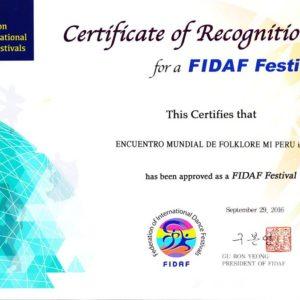 Certificado de reconocimiento por la FIDAF Festival